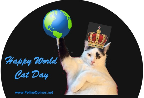 black and white cat wearing crown and holding globe