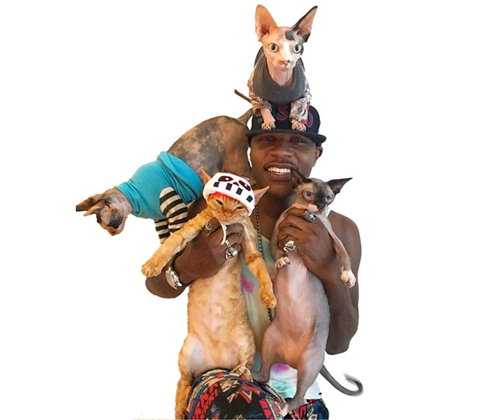 rapper with his hairless cats