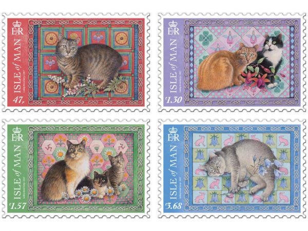 manx cat paintings on stamps