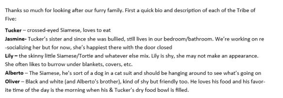 cat sitter bio