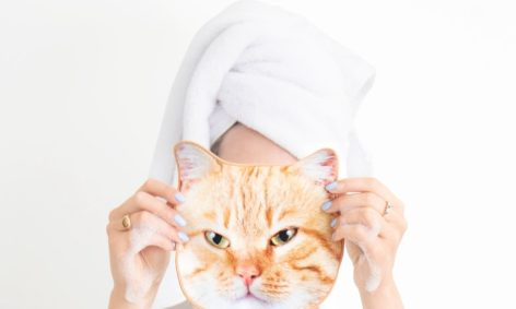cat face towel with ginger cat face
