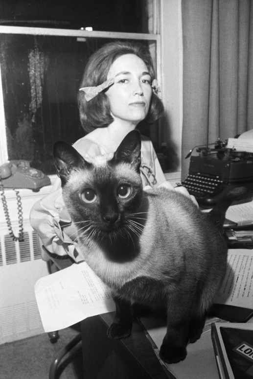 helen gurley brown and siamese cat